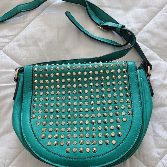 Crossbody teal with rhinestone and studs